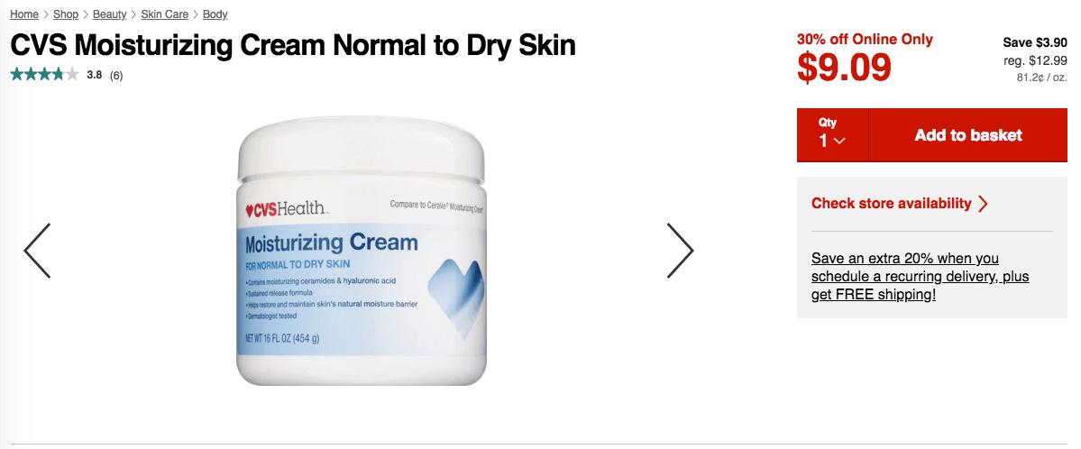 cvs health moisturizing cream