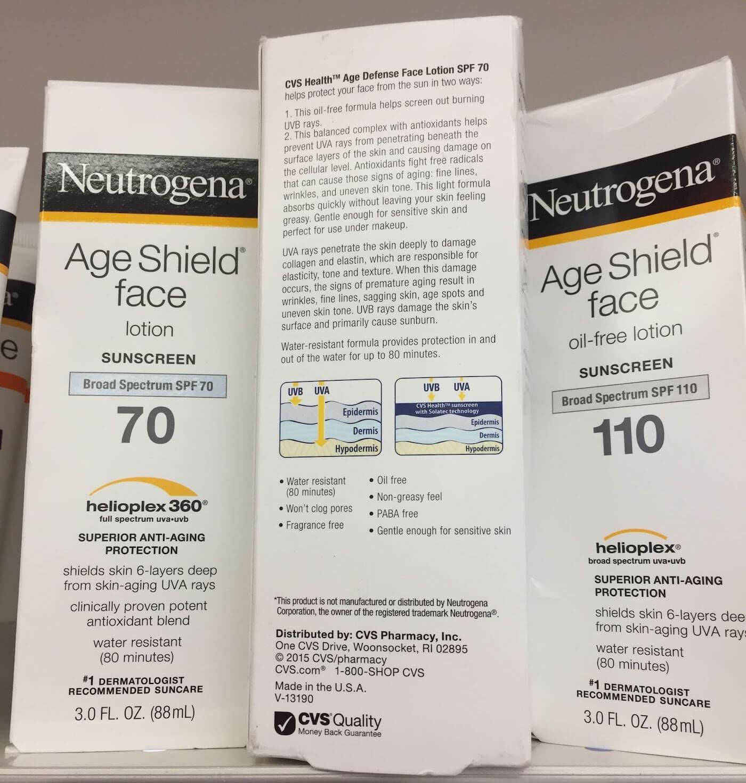 neutrogena age shield vs cvs health age defense sunscreen review comparison