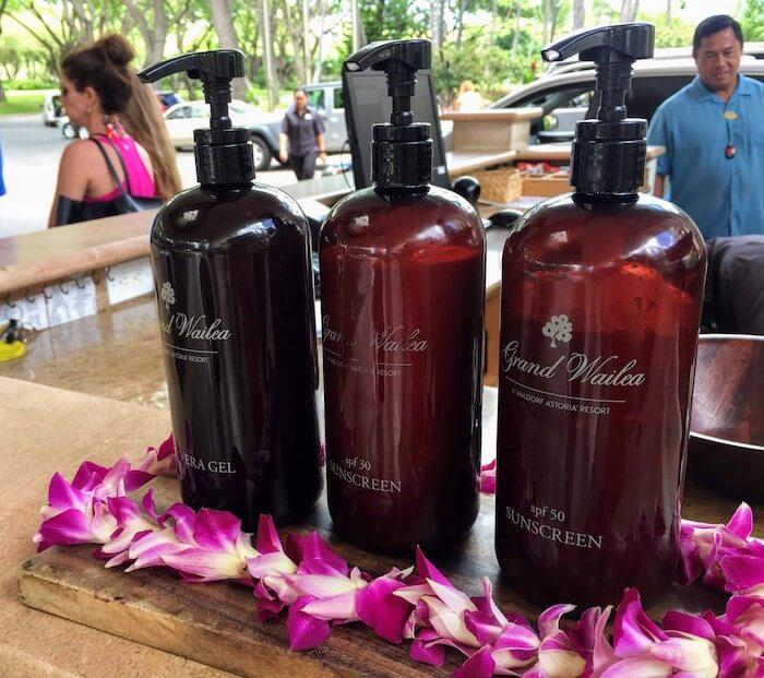 Grand Wailea Maui Review valet desk sunscreen