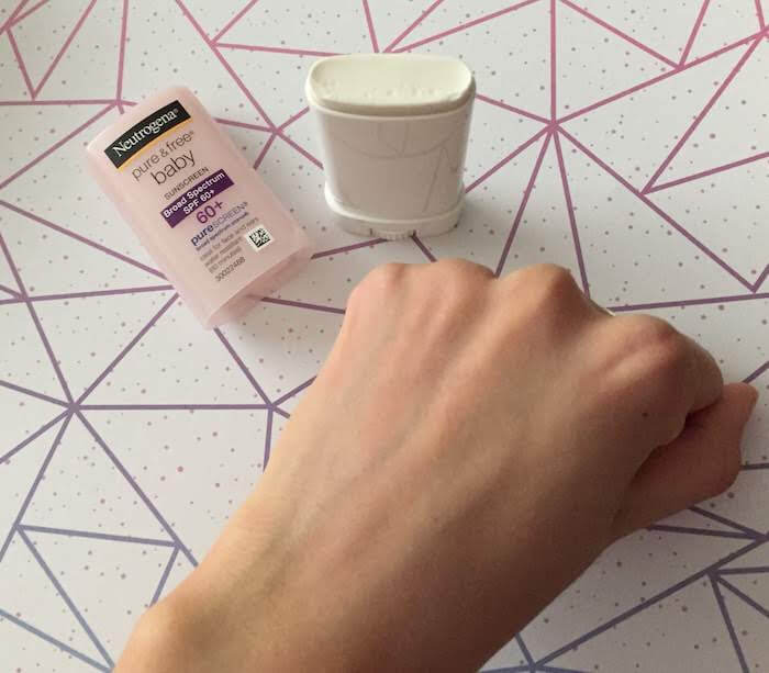 Neutrogena Pure & Free Baby Mineral Sunscreen Stick SPF 60+ review after rubbing in