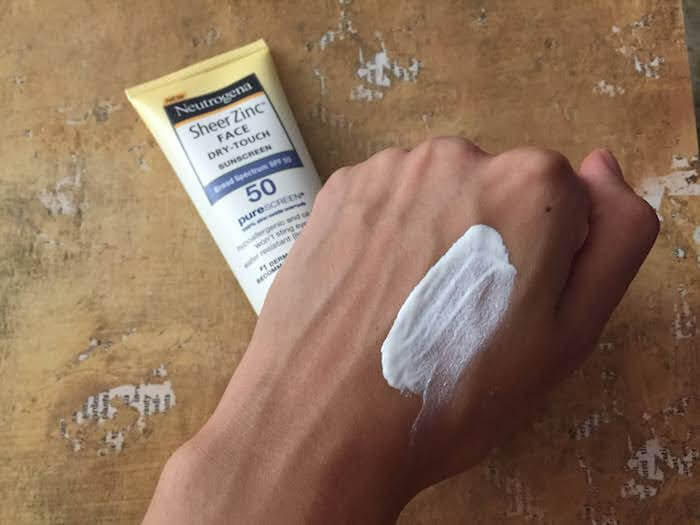 Neutrogena Sheer Zinc Face Sunscreen SPF 50 Review white cast