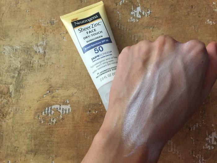 Neutrogena Sheer Zinc Face Sunscreen SPF 50 Review white cast